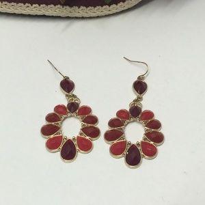 Multi Colored Red Dangle Earrings